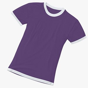 3D Female Crew Neck Laying White and Purple 01 model