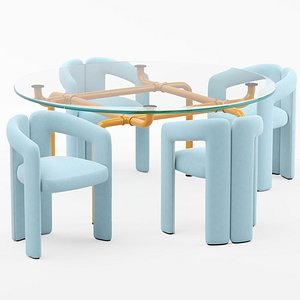 Cassina Dudet chair and Edison table model