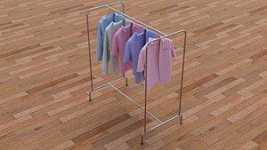 3D model Textured Hanged shirts Rack