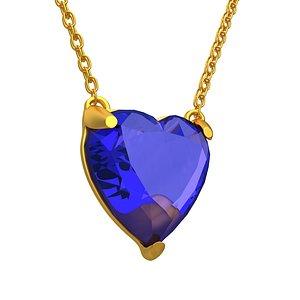 GEMSTONE HEART Blue NECKLACE 3D model
