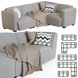 sofa pillows blanket 3D model