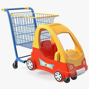 3D Supermarket Toy Car Shopping Trolley model