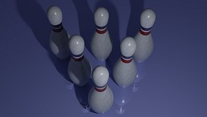 3D Bowling pin with red and blue strip model