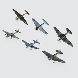 3D Set of 6 World War 2 military diving bombers