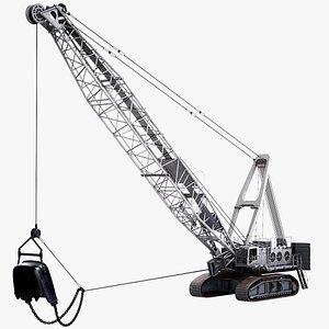 3D Mining Dragline Excavator Liebherr HS8300 White model