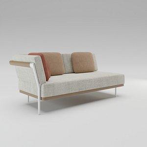 Manutti Flex Right Left corner double seat 3D model