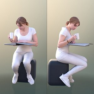 3D young reading documents model