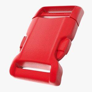 3D model YKK Contoured Side Release Plastic Buckle Red