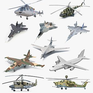 3D Rigged Russian Military Aircrafts Collection 3