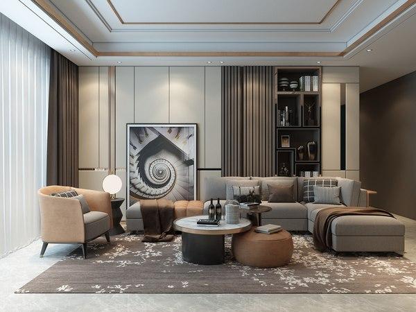 3d Living Room Luxury Model, Living Room Luxury