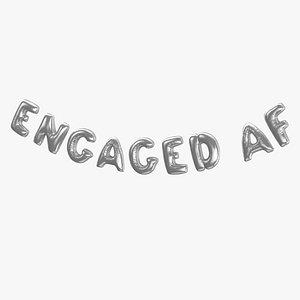 3D model Foil Baloon Words ENGAGED AF Silver