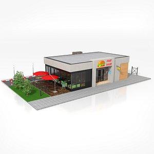 3D Drive-Thru Fast Food Restaurant 2 model