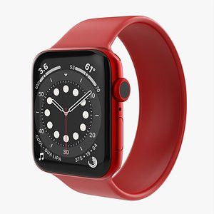 3D Apple Watch Series 6 silicone solo loop red