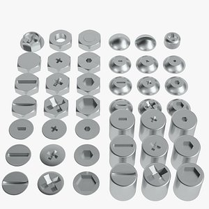 Screw heads collection 3D model