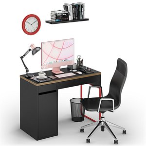 3D model Workplace iMac Pink