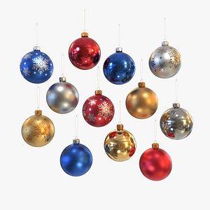 3D Christmas balls collection model