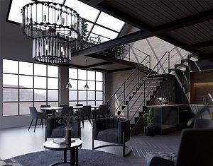interior living 3D model