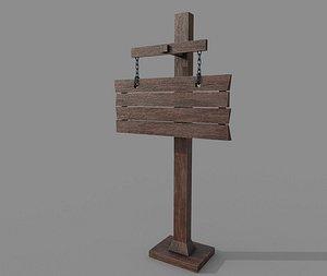 3D Wooden Western Signboard