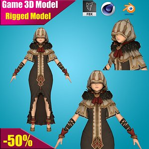 character people girl 3D model