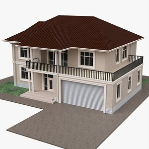 3D model Building villa two-story house with garage