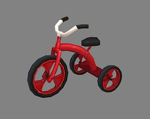 Cartoon children riding tricycle - red toy bike 3D model