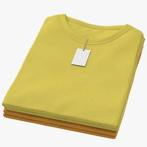 3D Female Crew Neck Folded Stacked With Tag Color Variations 04 model