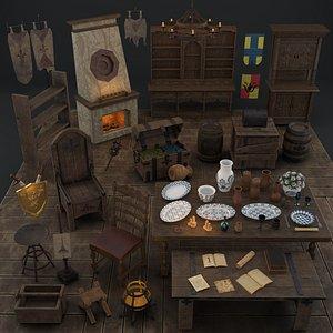 medieval dining room 3D model
