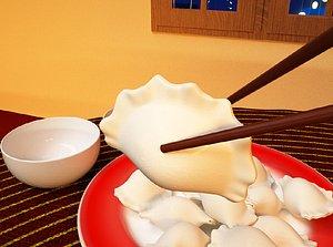Chinese food dumplings New Year's Eve dinner dumplings New Year's Eve New Year's Eve advertising 3D