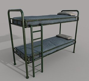 Old Green Bunk Bed Mattress and Pillows 3D model