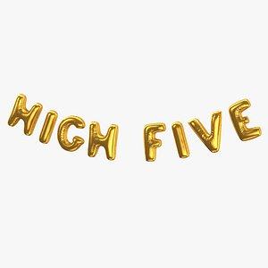 Foil Baloon Words High Five Gold 3D model