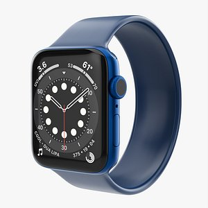 Apple Watch Series 6 silicone solo loop blue 3D model