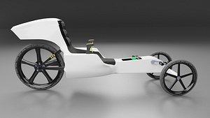 White Electric Trike Bike Glows in the Dark 3D