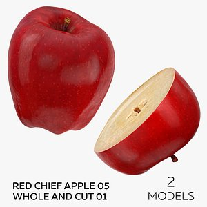 Red Chief Apple 05 Whole and Cut 01 - 2 models 3D model