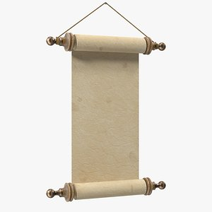 3D Antique Parchment Paper Scroll Wall Hanging model