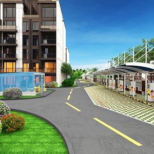 3D city block parking electric model