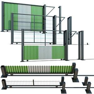 fence sliding gate building 3D