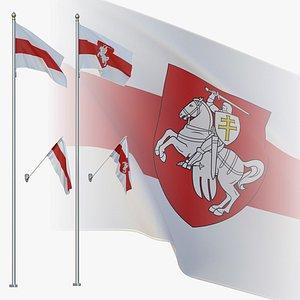 flag flagpole 3D