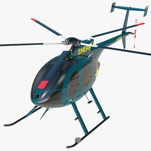 3D MD 500E Sheriff Helicopter Exterior Only