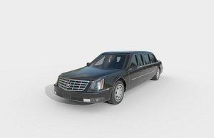 3D Low Poly Car - Cadillac Limousine 2005