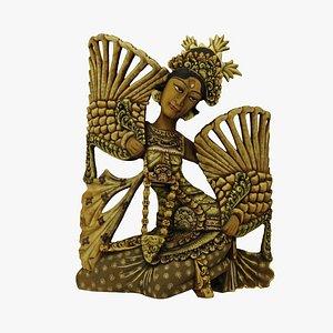 3D Balinese Legong Dancer Wood Sculpture Extreme Definition 3D Scanned
