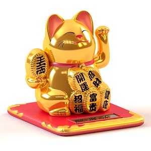 gold maneki neko cat 3D