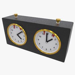 3D Black Chess Clock
