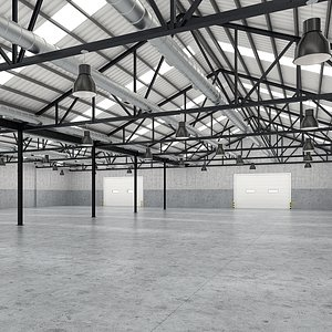 3D industrial interior space