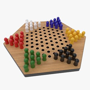 3D chinese checkers colored pegs model