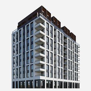 3D building modern residential