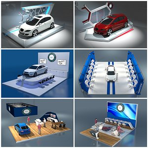 Car Exhibition Stand Collection 3D