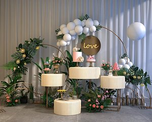 wedding balloon lobby Dessert flower wall green plants gardening party stage 3D model