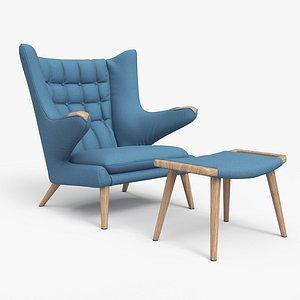 Papa Bear Chair And Ottoman Blue 3D model