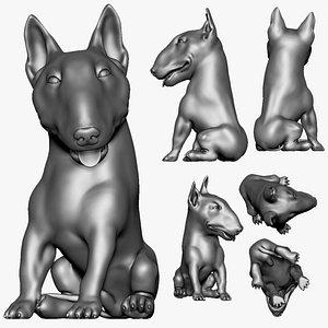 bull terrier dog printable model