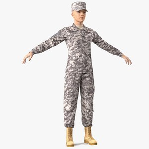 female soldier military acu 3D